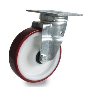 Platten-Lenk-Rolle, Schwerlast, 160 mm Durchmesser, verzinkt, Polyurethan Rad