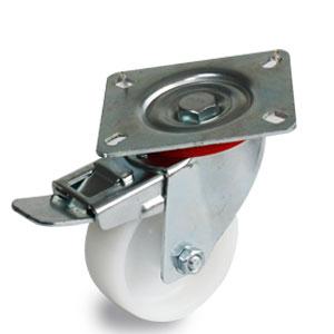 Laufrolle aus Polyamid mit Feststellbremse und 4 Loch Platte Durchmesser 100 mm verzinkt