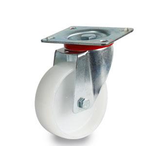 Lenkrolle mit Platte, verzinkte Gabel, Polyamidlaufrad Durchmesser 100 mm