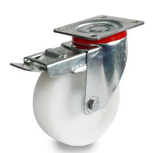 Rolle mit Platten-Befestigung und Bremse, verzinkt, mit 125 mm Polyamidrad
