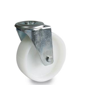 Lenkrolle mit verzinkter Radaufnahme, Rückenloch, 125 mm Durchmesser