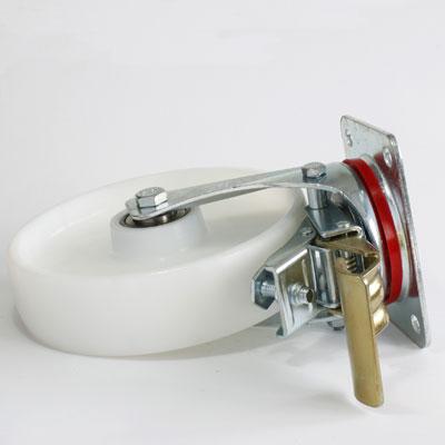 Polyamid Bremsrolle, 4-Loch-Platte, lenkbar, verzinkt, Rad-Durchmesser 200 mm