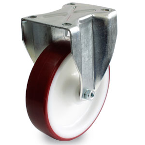 Schwerlast Bockrolle mit Polyurethanrad, Rad-Durchmesser 200 mm, Gabel verzinkt