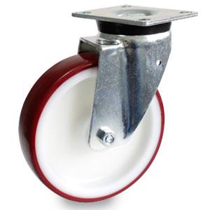 200 mm Schwelast-Platten-Lenkrolle, verzinkt mit Polyamid-Polyurethan Rad