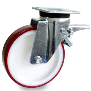 Schwerlast Bremsrolle mit 4-Loch-Platte, verzinkt, Polyurethan - Polyamid Rad, Ø 200 mm