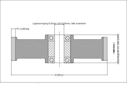 Zeichnung Polyurethan-Hubwagenrad, Rad Durchmesser 200 mm