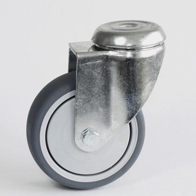 Apparate-Lenkrolle mit Rückenloch Befestigung, verzinkt, Rad Durchmesser 100 mm