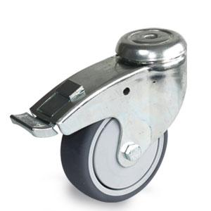 Apparatelenkrolle mit Feststeller, Gehäuse verzinkt mit 1-Loch-Befestigung Ø 100 mm