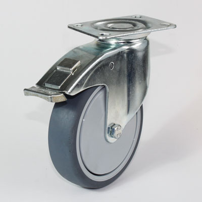 Plattenlenkrolle mit Feststellbremse, Apparategehäuse verzinkt, Rad 125 mm Durchmesser