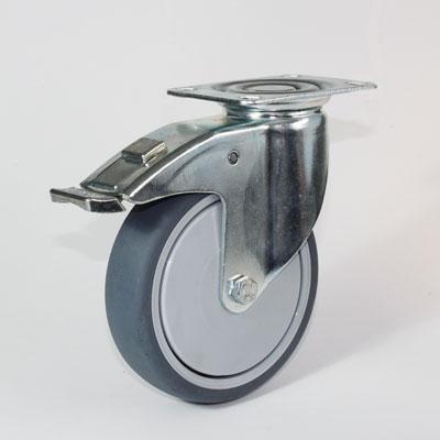 Platten-Lenk-Rolle mit Feststeller für Apparateräder, Radaufnahme verzinkt, Raddurchmesser 125 mm