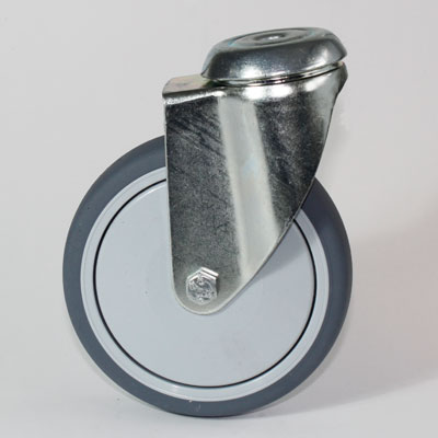 verzinkte Lenkrolle für Apparate mit 1 Loch Befestigung, Radduchmesser 125 mm