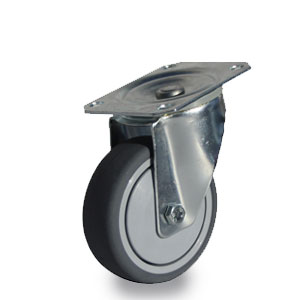 Lenkrolle mit verzinktem Apparategehäuse, 4-Loch-Befestigung, Rad 75 mm Durchmesser