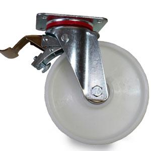 Polyamid Schwerlastrolle mit Feststeller, Gabel verzinkt, Rad Durchmesser 200 mm
