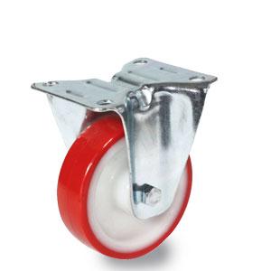 Bockrolle 100 mm Durchmesser, Gabel verzinkt, Polyamid-Polyurethan Rad