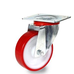 verzinkte Lenkrolle mit Platte und Polyamid Rad mit Polyurethan Laufbelag, Durchmesser 100 mm