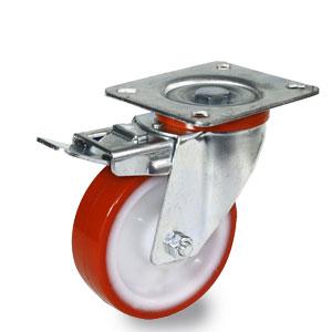 Bremsrolle mit Platte, Raddurchmesser 100 mm, verzinktes Gehäuse, Polyamidrad mit Polyurethan Laufbelag