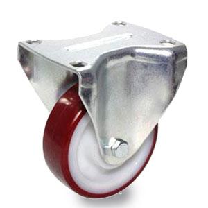 Rolle mit Schwerlast-Bockgehäuse, verzinkt, Polyamidrad mit Polyurethan Belag, Raddurchmesser 125 mm