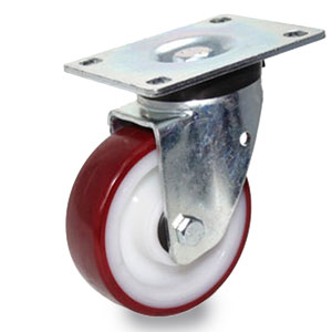 Polyamid-Polyurethan Schwerlast-Platten-Lenk-Rolle, Gehäuse verzinkt, Rad 125 mm