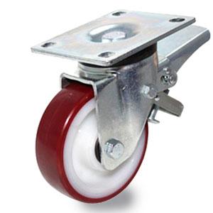 Bremsrolle für schwere Lasten, Platten.Leml-Gabel verzinkt, Rad Polyamid mit Polyurethan Laufbelag, Durchmesser 125 mm