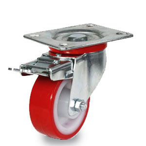 Platten-Lenk-Rolle mit Feststeller, Polyamid Rad mit Polyurethan Laufbelag, Radaufnahme verzinkt, Raddurchmesser 80 mm