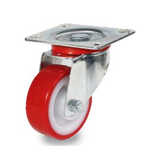 Polyamid Polyurethan Rad, Durchmesser 80mm mit verzinkter Radaufnahme und 4 Loch Befestigung