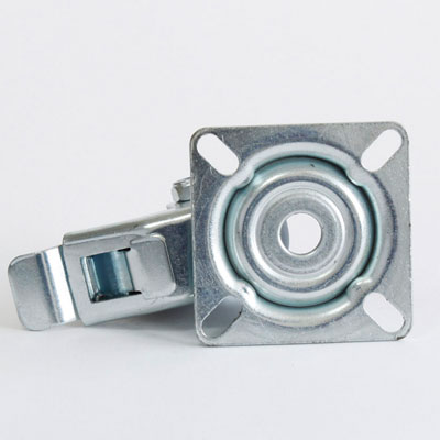 Apparate Rolle mit Feststellbremse und Platten-Lenk-Gabel, verzinkt, 50 mm Raddurchmesser
