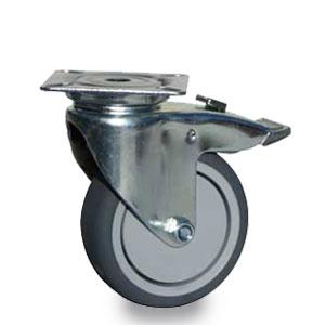 Bremsrolle mit Apparate Platten-Lenk-Gehäuse, Gabel verzinkt mit Feststeller, Rad 75 mm