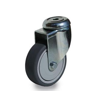 Lenkrolle mit Apparate.Rückenloch-Gabel, verzinkt, Durchmesser 75 mm