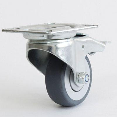 Bremsrolle mit verzinkter Apparate Lenkgabel, 4-Loch Befestigung, Durchmesser 50 mm