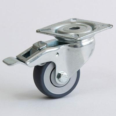 Lenkrolle mit 4-Loch-Befestigung, Gehäuse verzinkt, Apparate Gabel, Rad 50 mm