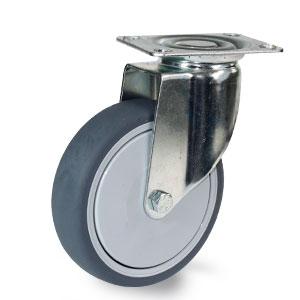 Apparate Lenkrolle mit Platte, Gehäuse verzinkt, Rad 125 mm