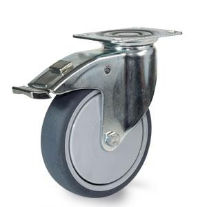 Apparate Lenkrolle mit Platte und Feststeller, Gehäuse verzinkt, Rad 125 mm