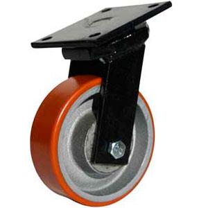 Schwerlastrolle mit geschweißtem Gehäuse und Polyurethan Laufrad, Raddurchmesser 150 mm