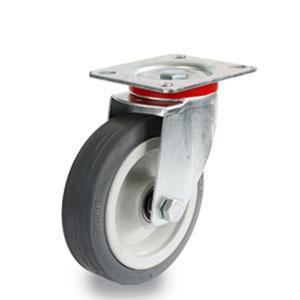 Lenkrolle mit Gummirad, verzink, 4-Loch-Platte, Durchmesser 125 mm