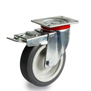 Volgummi-Brems-Rolle mit Platte, Rad 125 mm Durchmesser