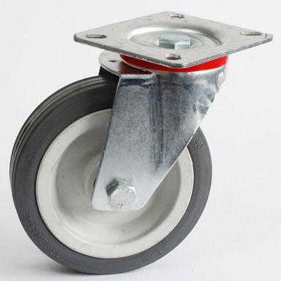 Volgummi-Lenk-Rolle mit 4-Loch-Befestigung, verzinkt, Rad-Durchmesser 125 mm