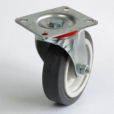 Lenkrolle mit Platte, verzinkte Radaufnahme, 125 mm Gummirad