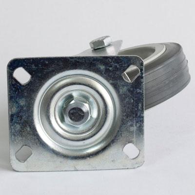 verzinkte Platten-Lenkrolle mit Gummirad 125 mm Durchmesser