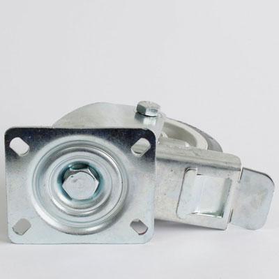 Bremsrolle mit Gummirad, Platten-Lenk-Gabel, 125 mm Durchmesser