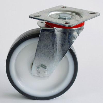 Polyamid-Polyurethan-Platten- Lenkrolle, verzinkt, Rad 125 mm