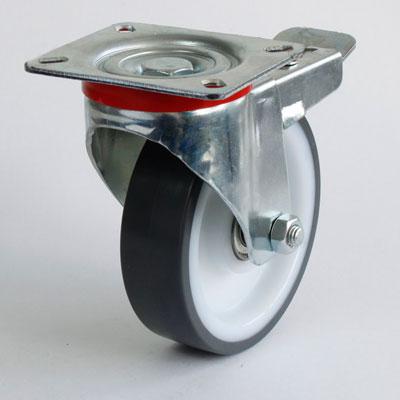 Platten-Lenk-Rolle mit Bremse und Polyamid-Polyurethan-Rad, Durchmesser 125 mm