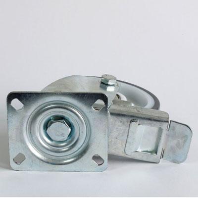 Polyamid-Bremsrolle mit Polyurethan-Laufbelag, verzinktes Platten-Lenk-Gehäuse, Durchmesser 125 mm