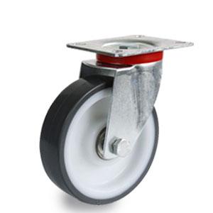 Platten-Lenk-Rolle, Druchmesser 125 mm, Polyamidrad mit Polyurethan Laufbelag