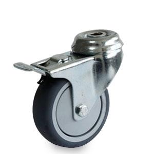 Apparate Lenkrolle mit Feststeller, 1-Loch-Befestigung, Rad 75 mm