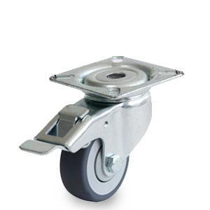 Bremsrolle mit Apparate-Gehäuse, Lenk-Platte, verzinkt, Raddurchmesser 50 mm